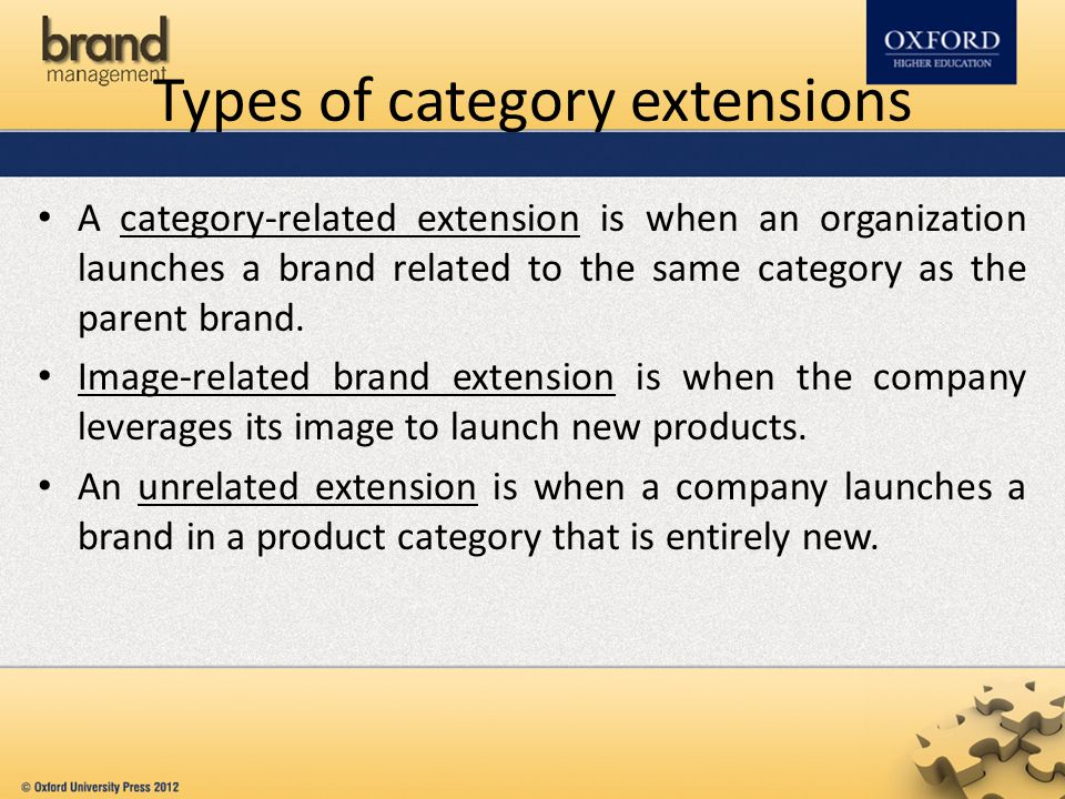 Types of category extensions