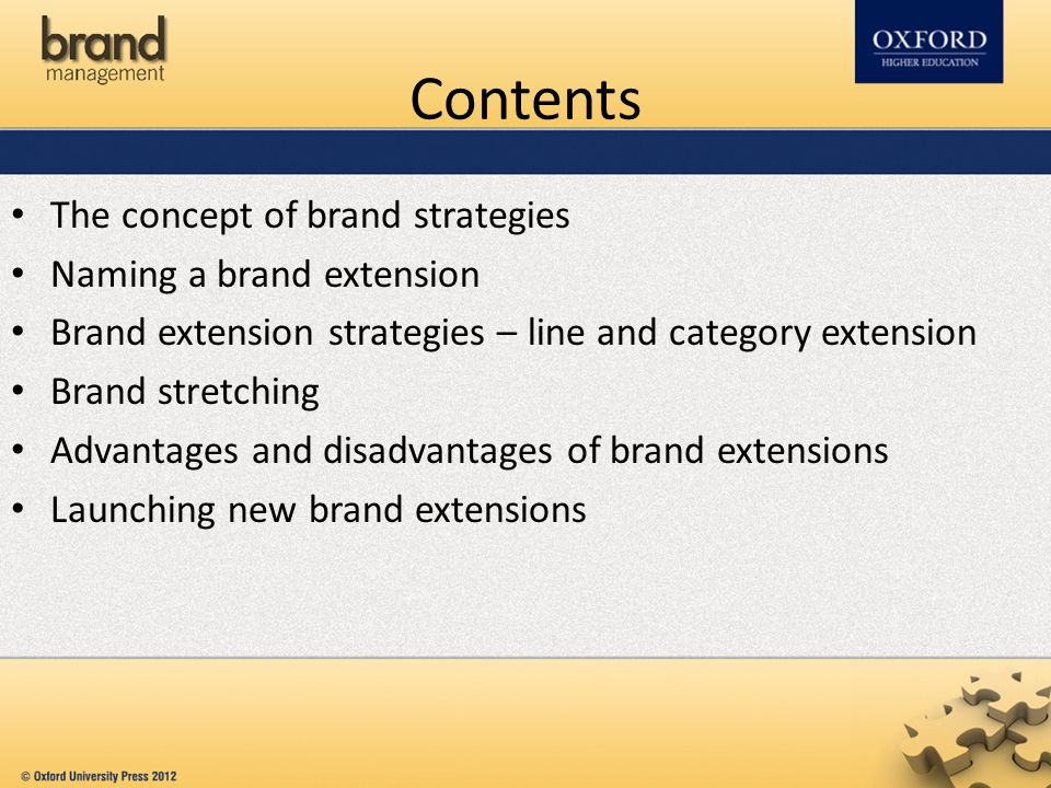 Contents The concept of brand strategies Naming a brand extension