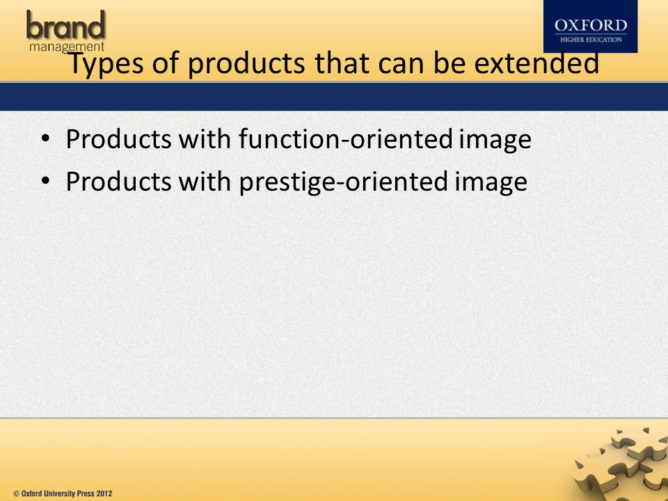 Types of products that can be extended