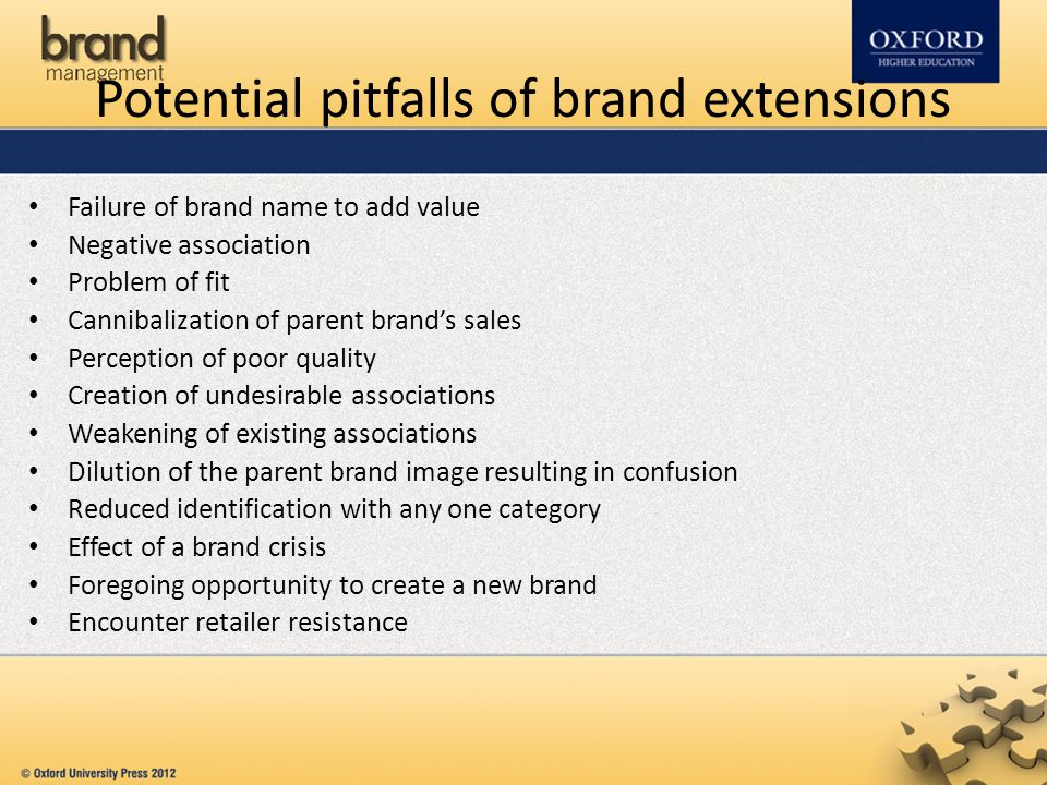 Potential pitfalls of brand extensions