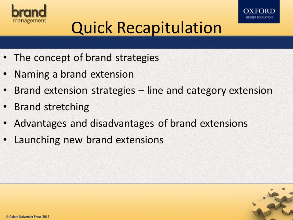 Quick Recapitulation The concept of brand strategies