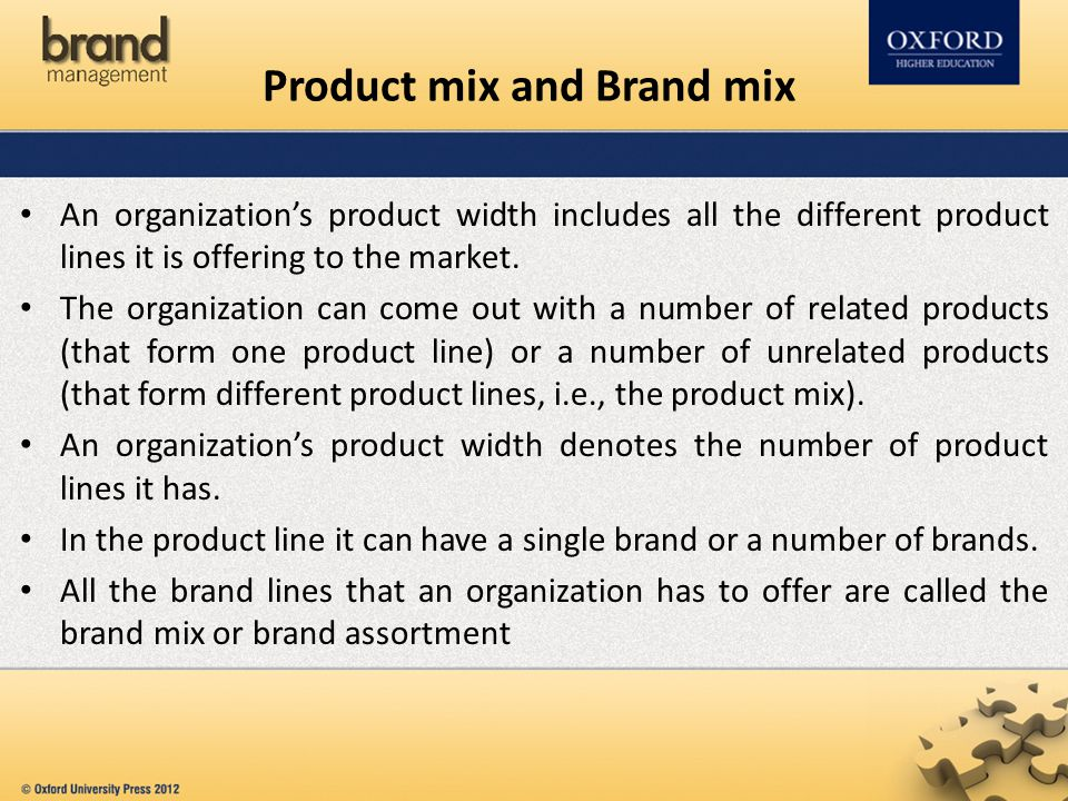 Product mix and Brand mix