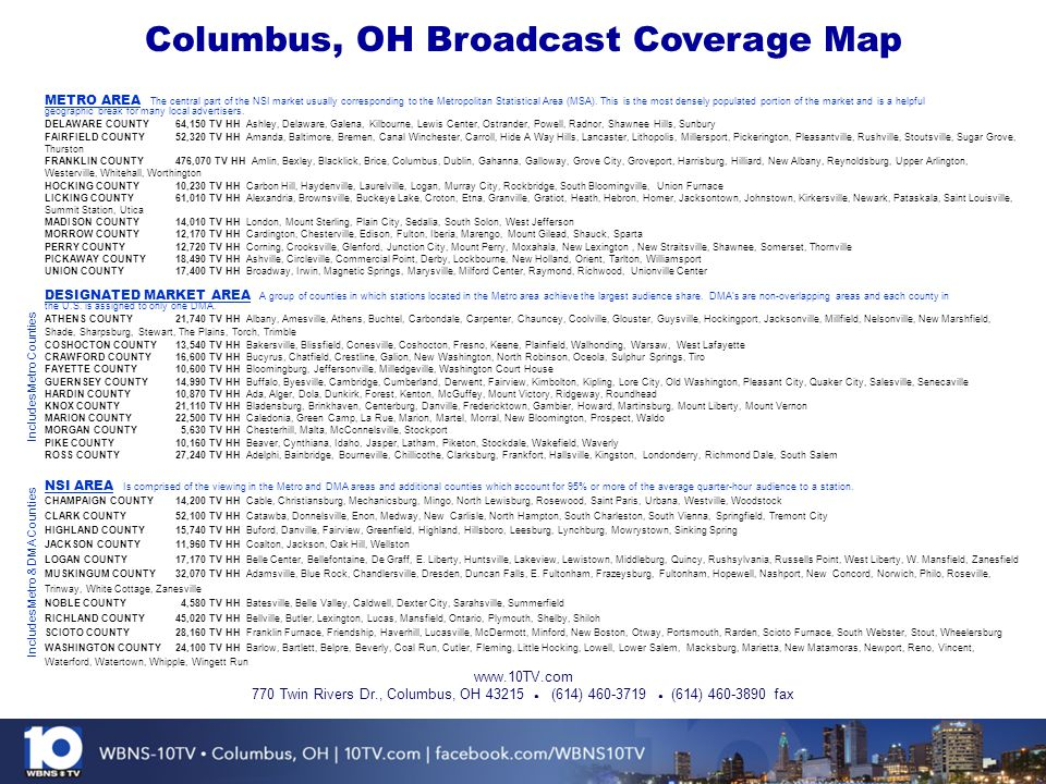 Columbus, OH Broadcast Coverage Map