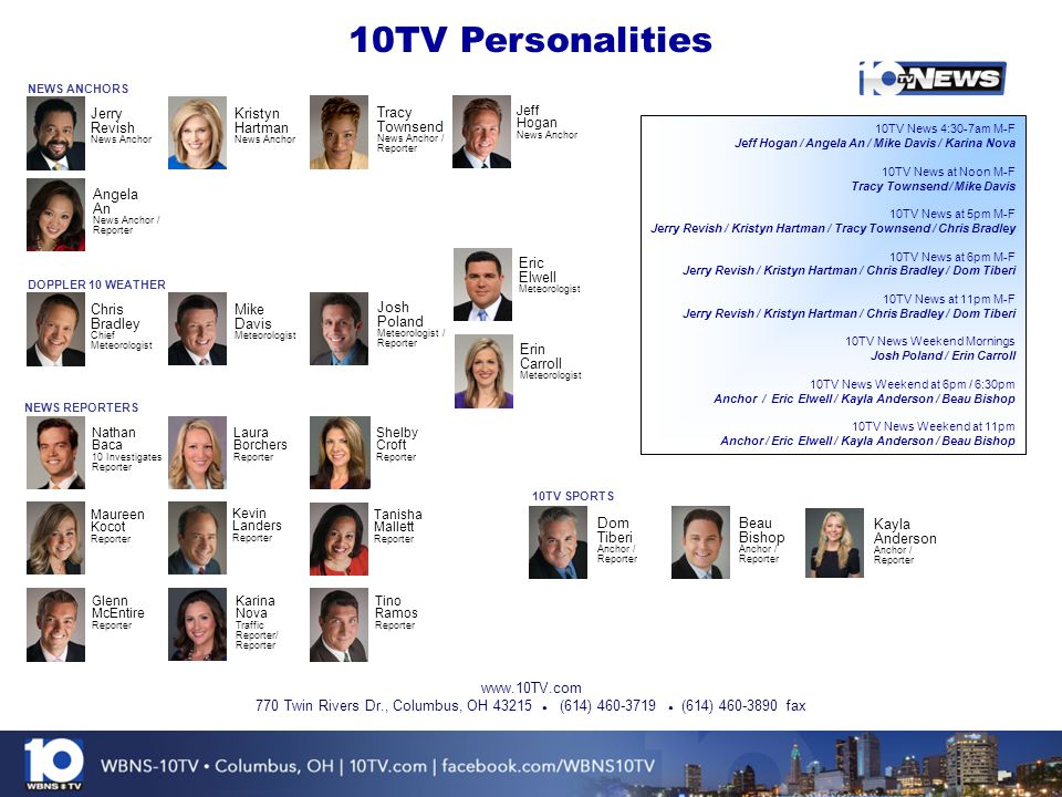 10TV Personalities Jerry Revish Kristyn Hartman Tracy Townsend Angela