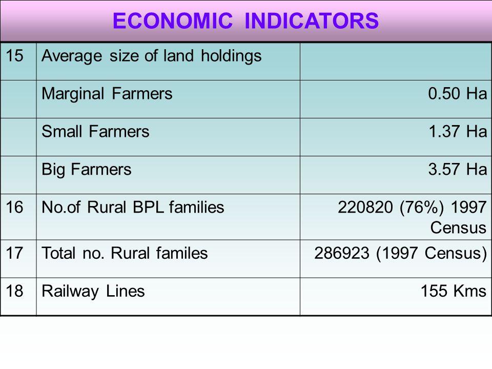 ECONOMIC INDICATORS 15 Average size of land holdings Marginal Farmers