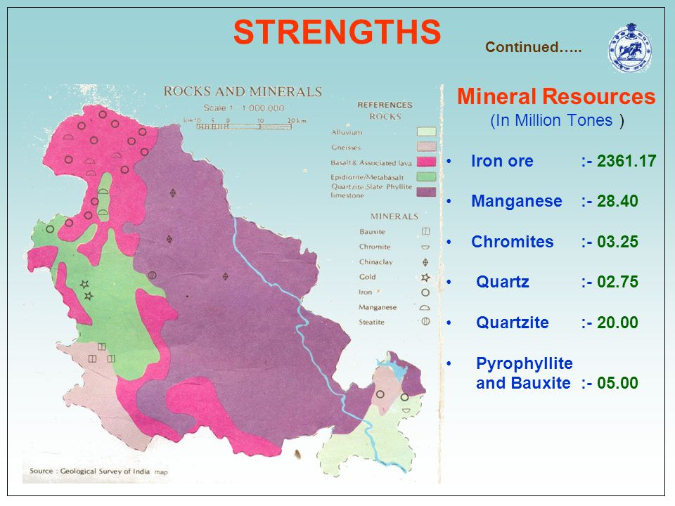 STRENGTHS Mineral Resources (In Million Tones ) Iron ore :- 2361.17