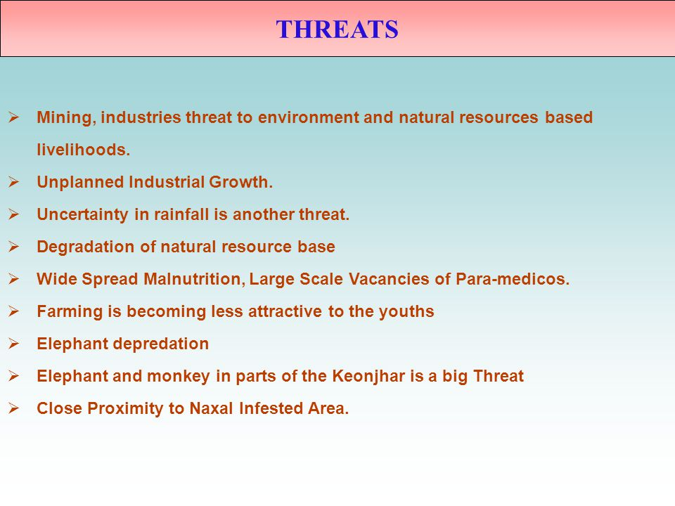 THREATS Mining, industries threat to environment and natural resources based. livelihoods. Unplanned Industrial Growth.