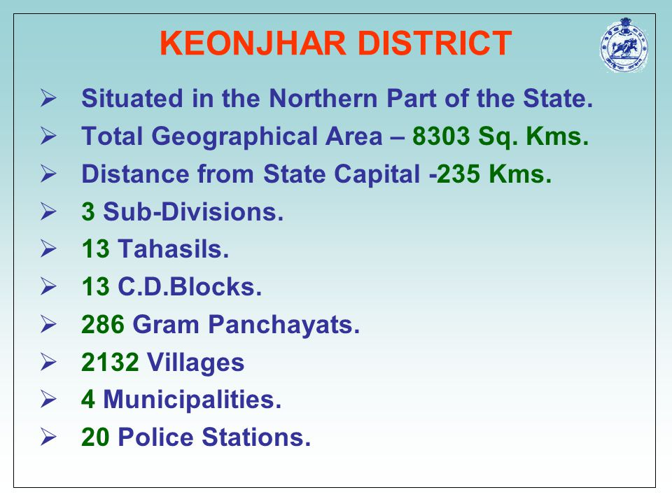 KEONJHAR DISTRICT Situated in the Northern Part of the State.
