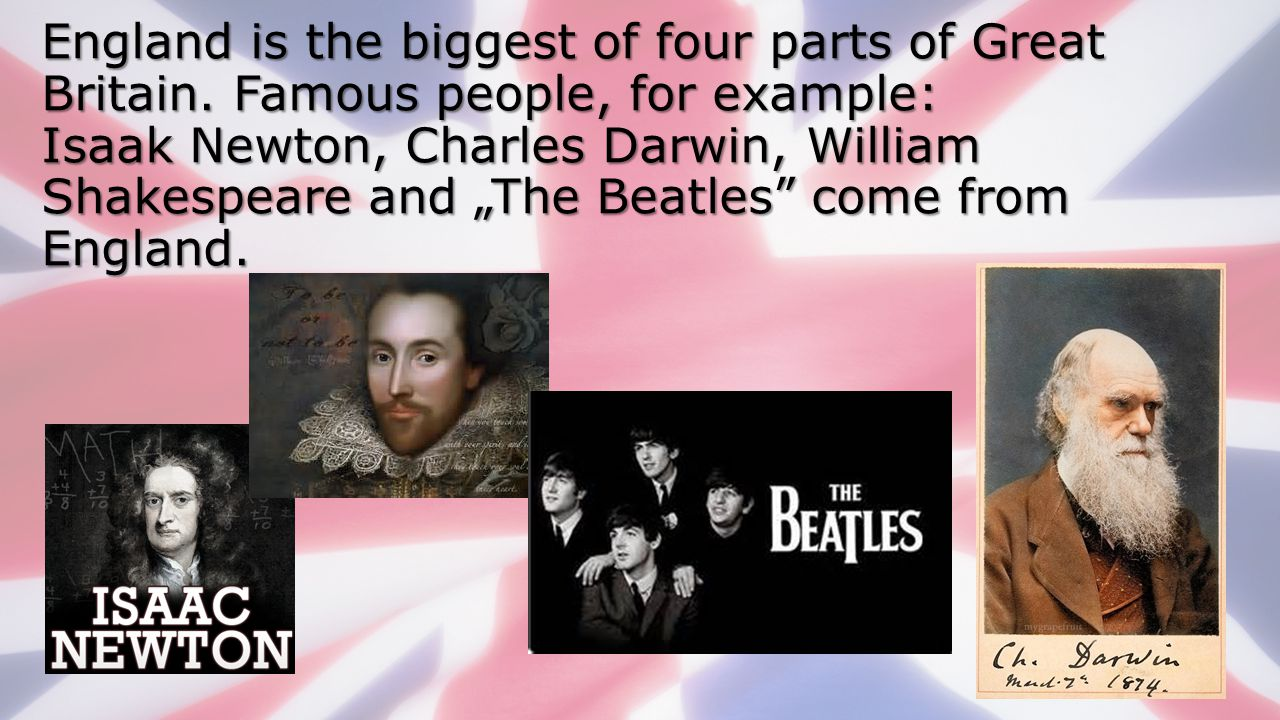 England is the biggest of four parts of Great Britain