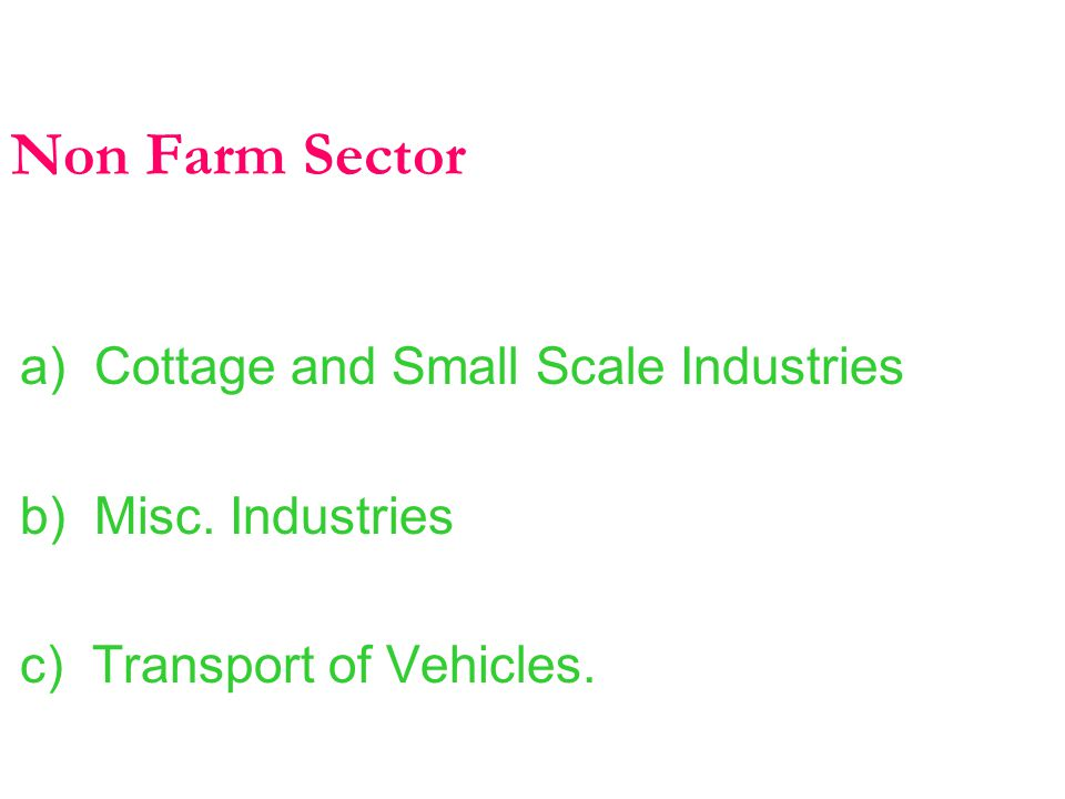Non Farm Sector a) Cottage and Small Scale Industries