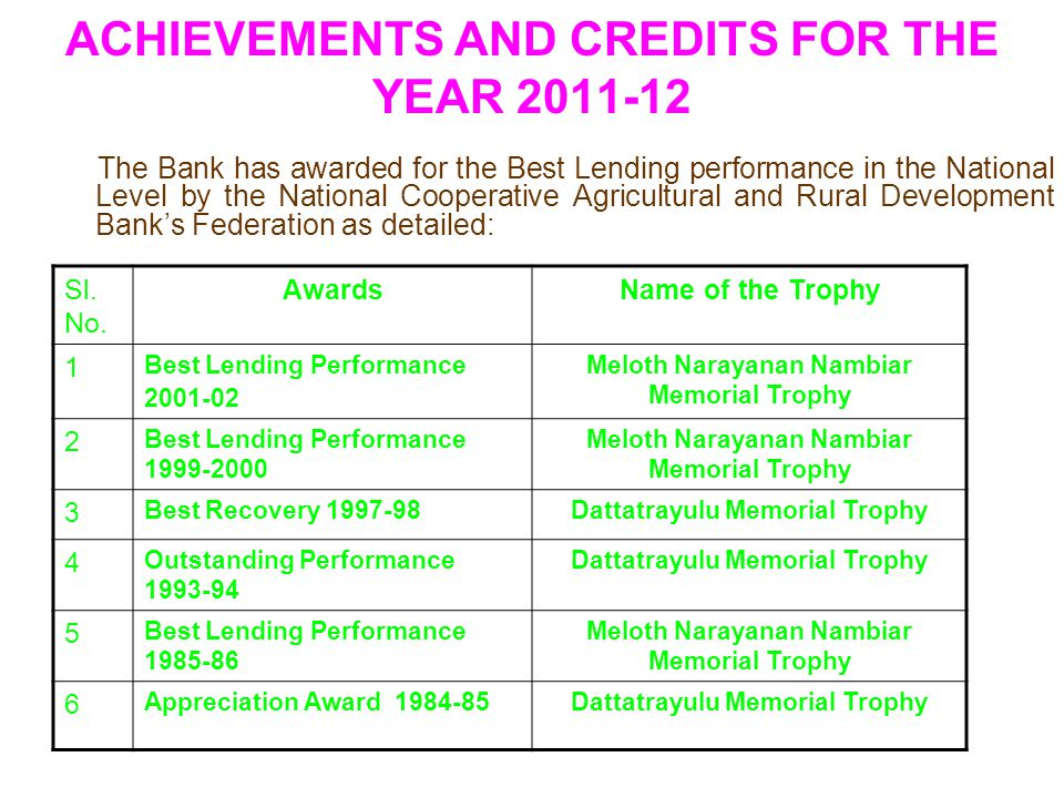 ACHIEVEMENTS AND CREDITS FOR THE YEAR 2011-12