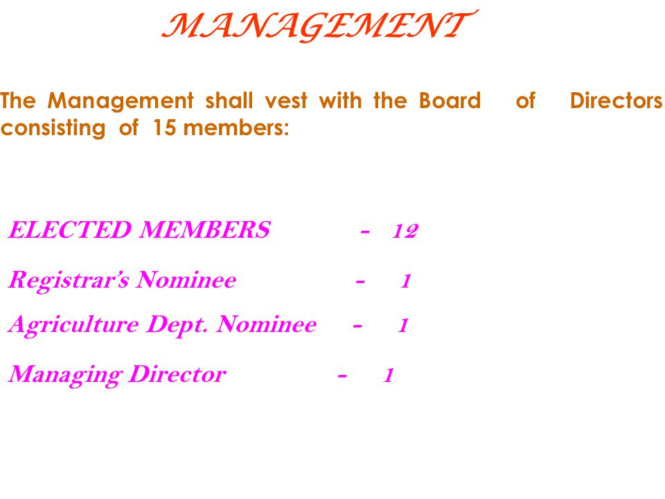 MANAGEMENT ELECTED MEMBERS - 12 Registrar's Nominee - 1