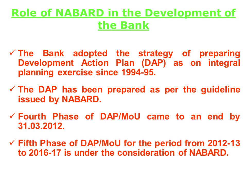 Role of NABARD in the Development of the Bank