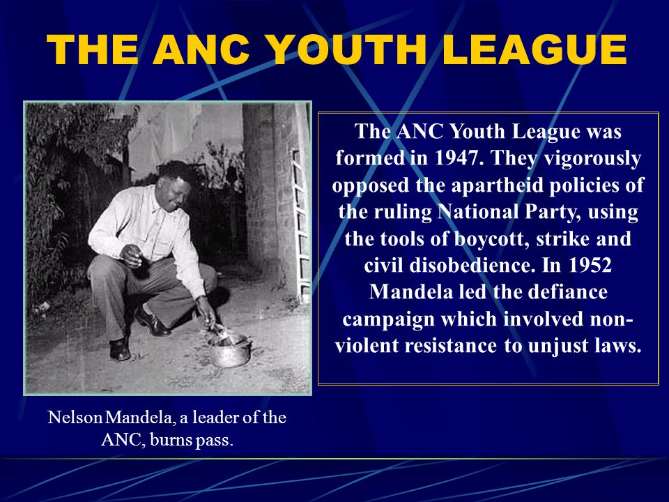 Nelson Mandela, a leader of the ANC, burns pass.