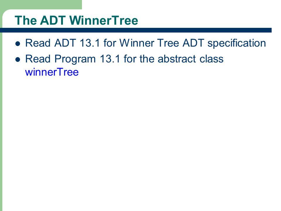 The ADT WinnerTree Read ADT 13.1 for Winner Tree ADT specification