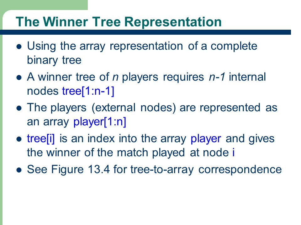 The Winner Tree Representation