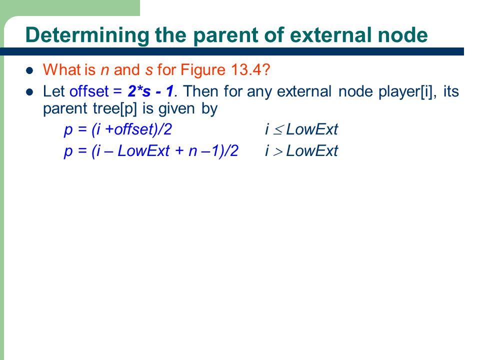 Determining the parent of external node