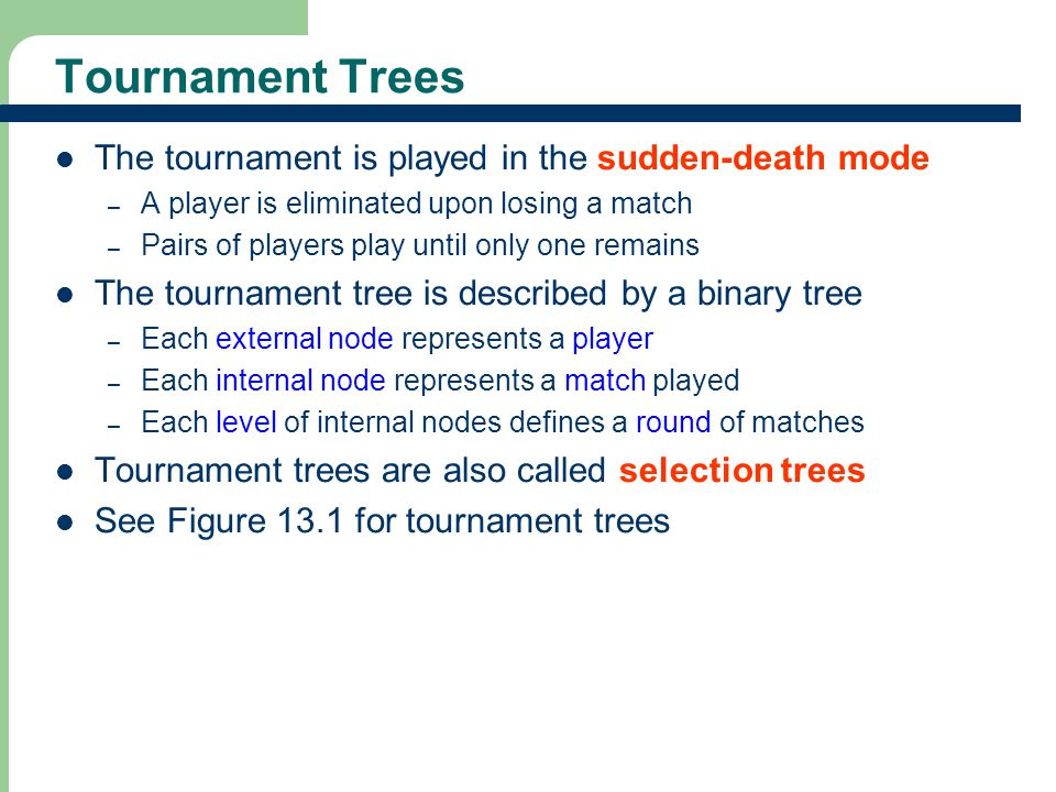 Tournament Trees The tournament is played in the sudden-death mode