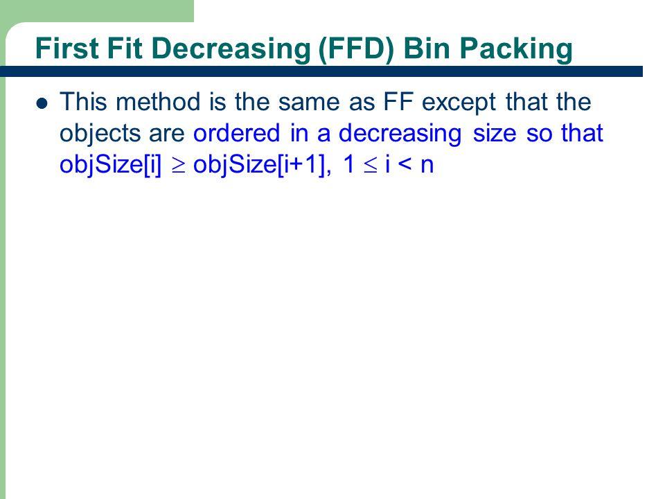 First Fit Decreasing (FFD) Bin Packing