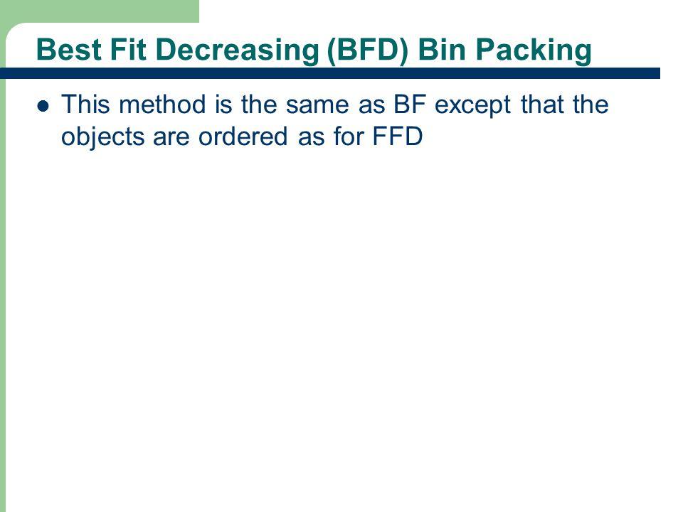 Best Fit Decreasing (BFD) Bin Packing
