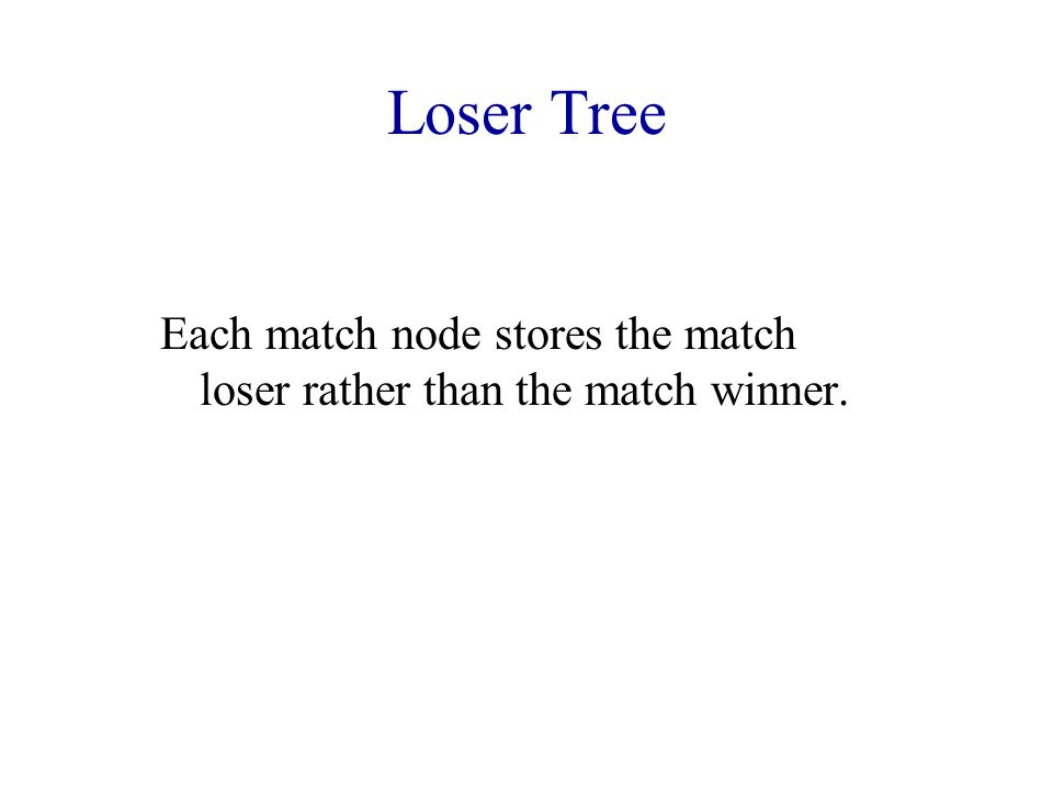 Each match node stores the match loser rather than the match winner.