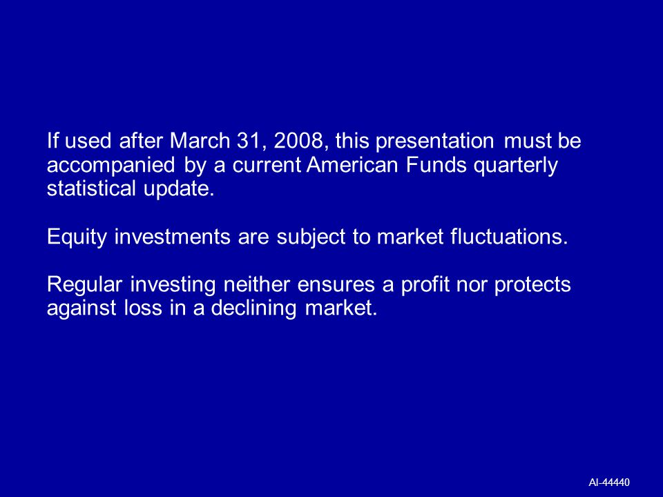 Equity investments are subject to market fluctuations.