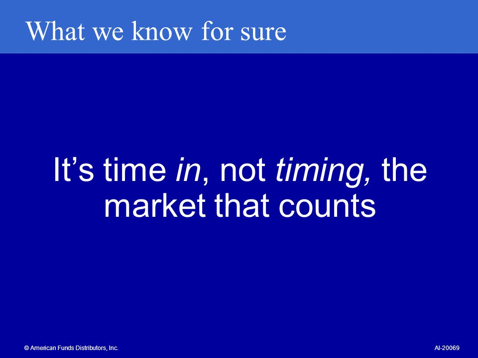 It's time in, not timing, the market that counts