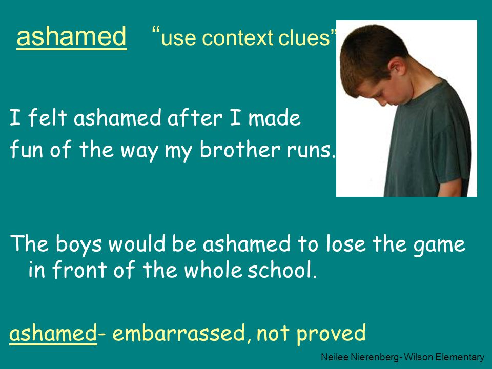 ashamed use context clues