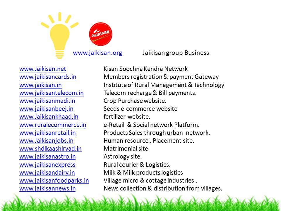 www.jaikisan.org Jaikisan group Business