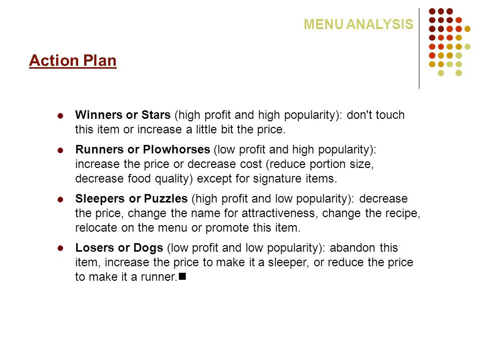 Action Plan MENU ANALYSIS