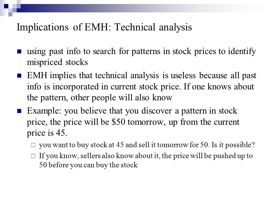 Implications of EMH: Technical analysis