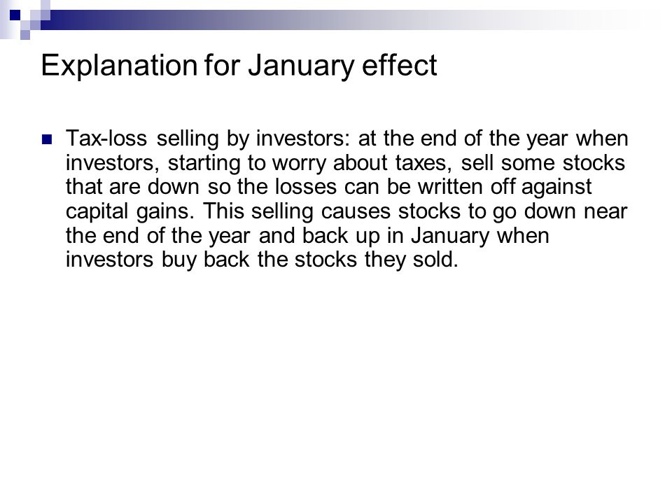 Explanation for January effect