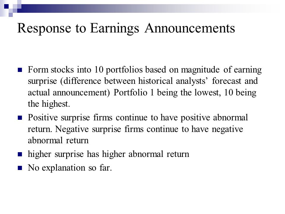Response to Earnings Announcements