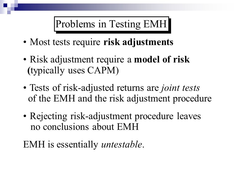 Problems in Testing EMH
