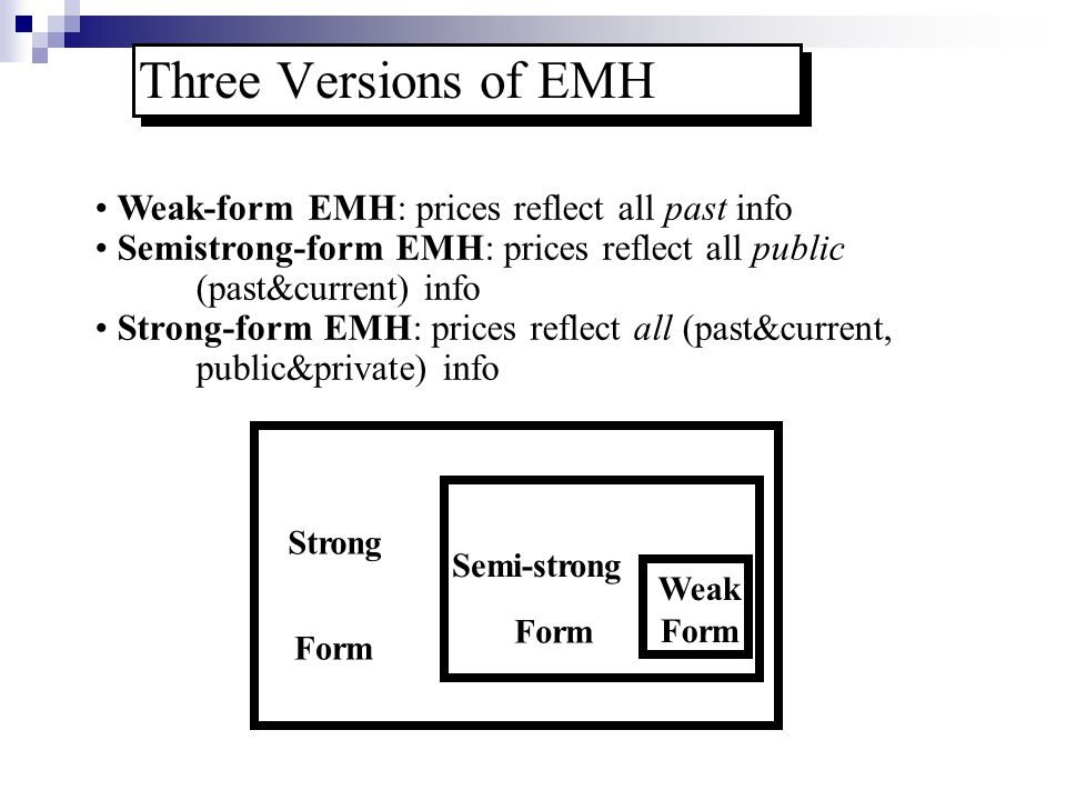 Three Versions of EMH Weak-form EMH: prices reflect all past info