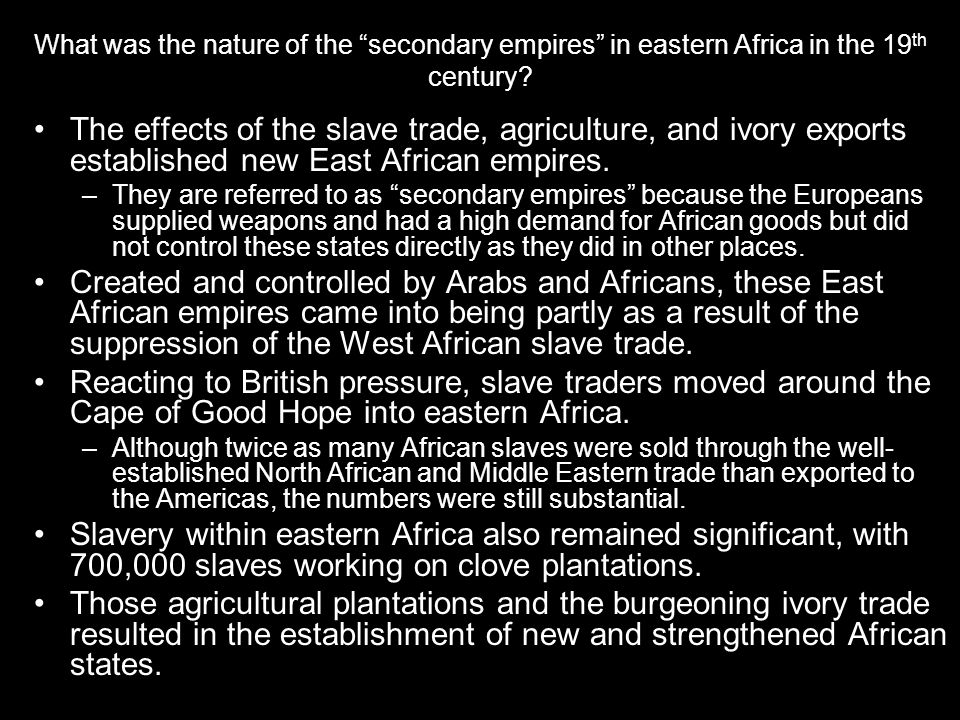 What was the nature of the secondary empires in eastern Africa in the 19th century