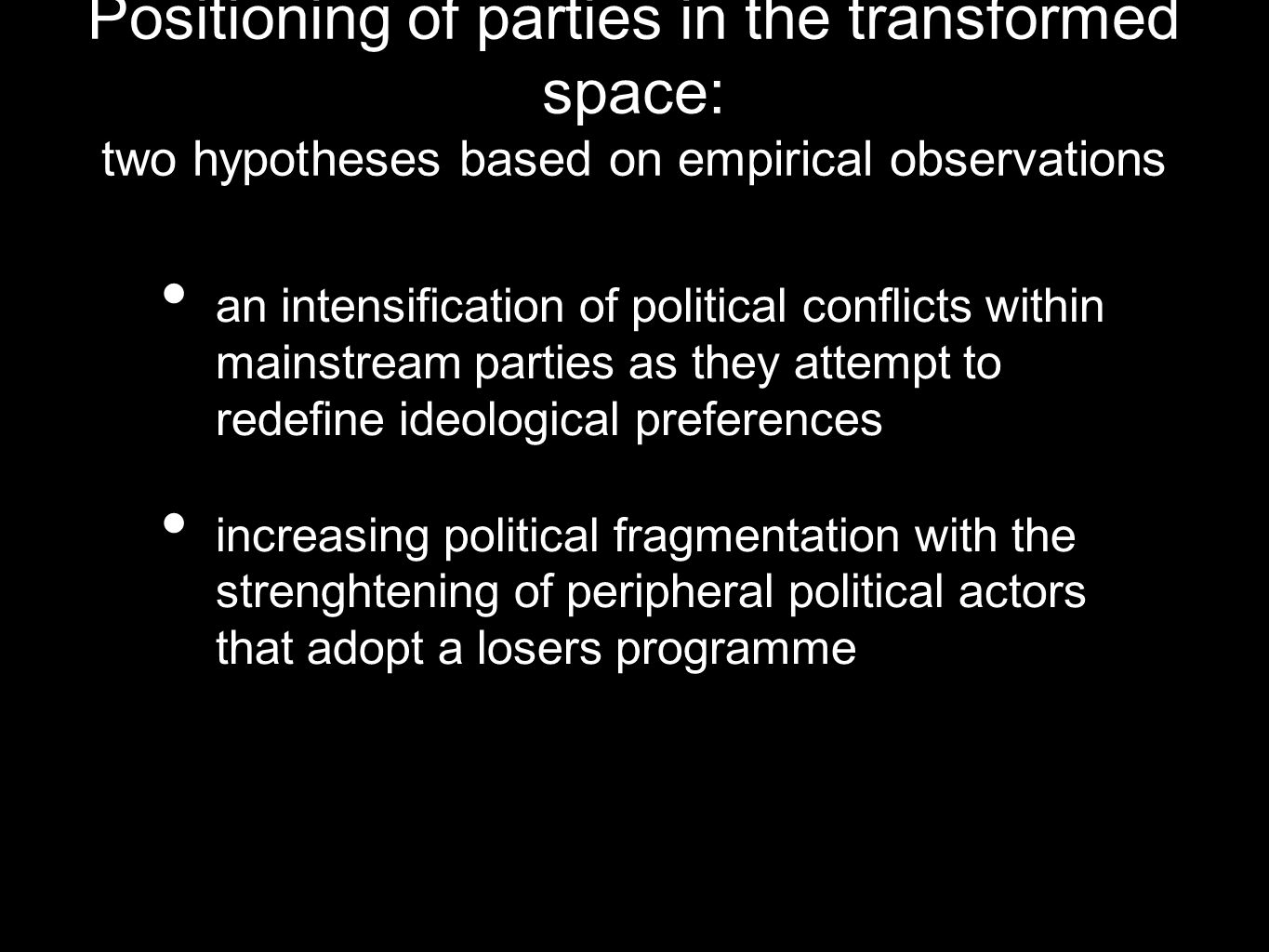 Positioning of parties in the transformed space: