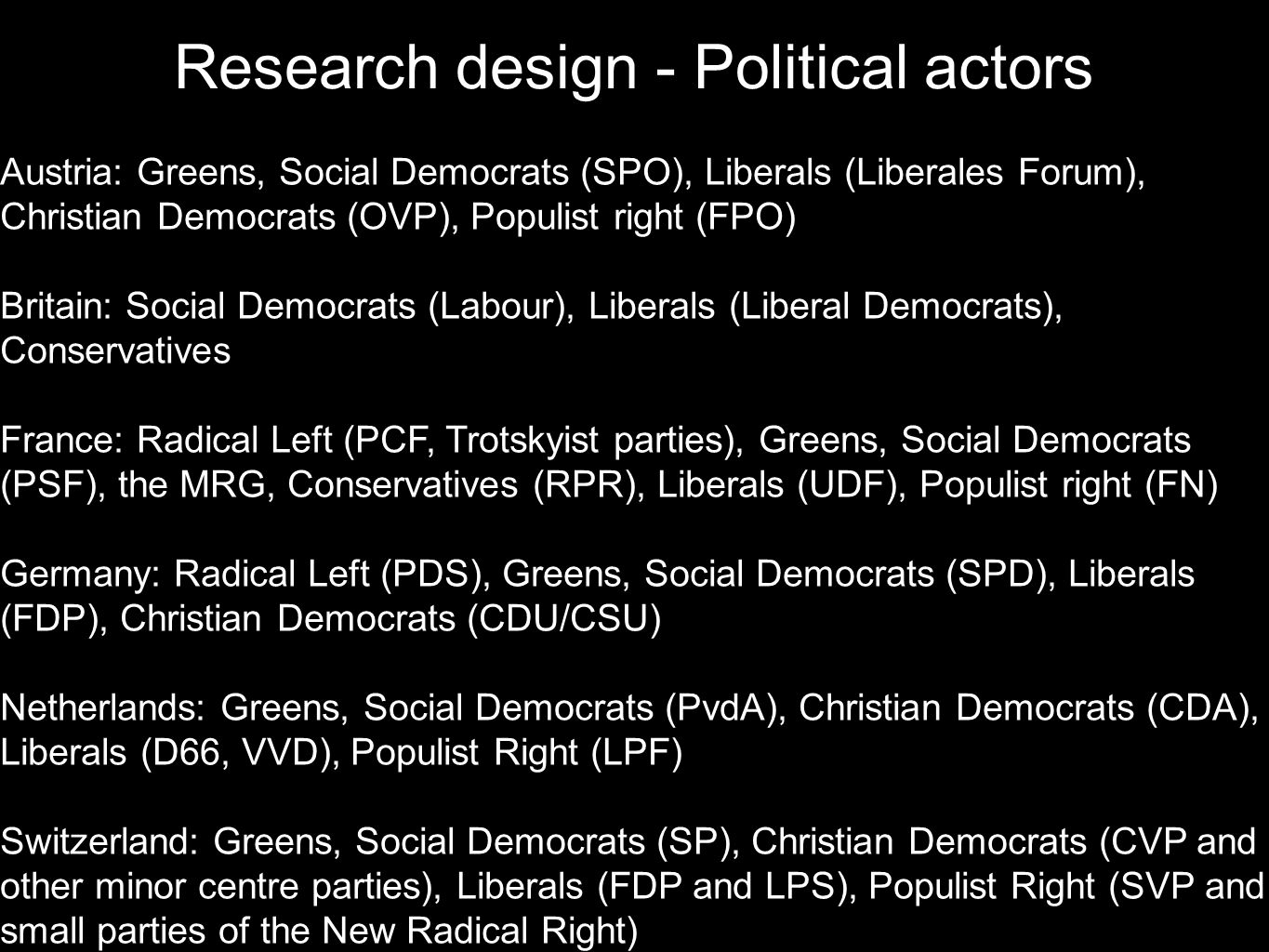 Research design - Political actors
