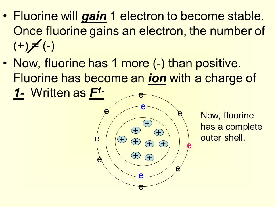 Fluorine will gain 1 electron to become stable