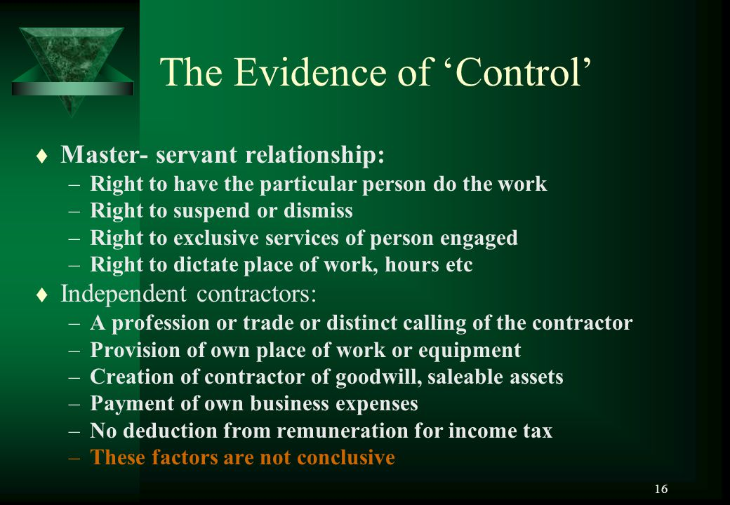 The Evidence of 'Control'