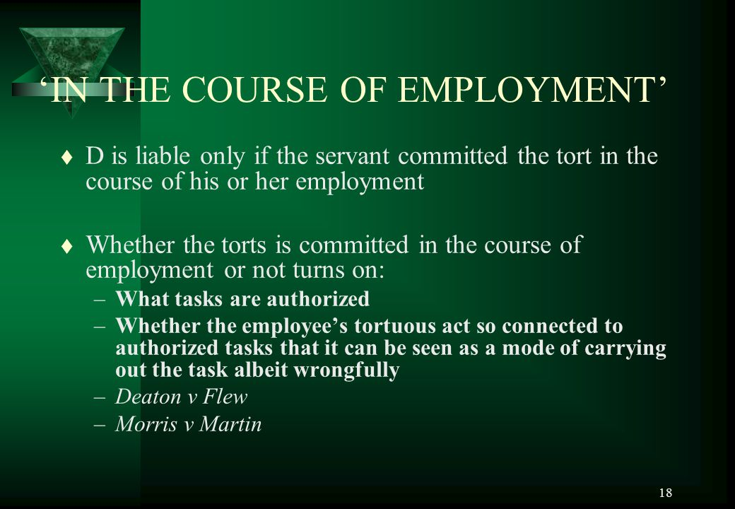 'IN THE COURSE OF EMPLOYMENT'