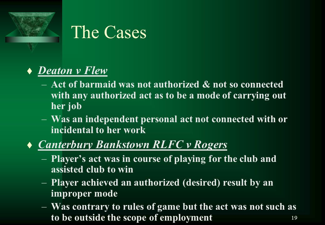 The Cases Deaton v Flew Canterbury Bankstown RLFC v Rogers