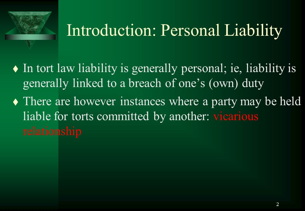 Introduction: Personal Liability