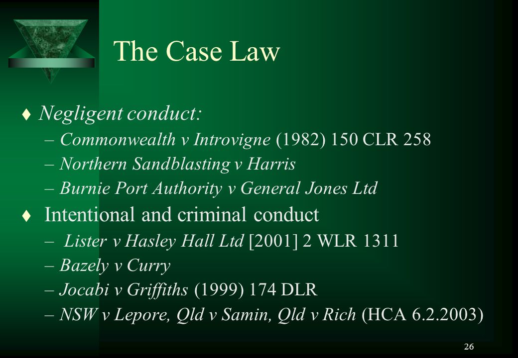 The Case Law Negligent conduct: Intentional and criminal conduct