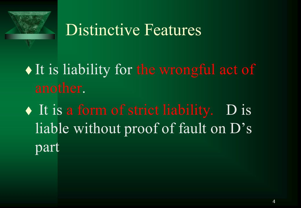 Distinctive Features It is liability for the wrongful act of another.
