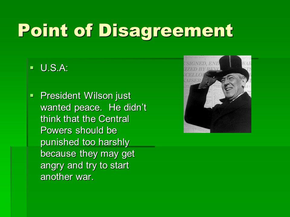 Point of Disagreement U.S.A: