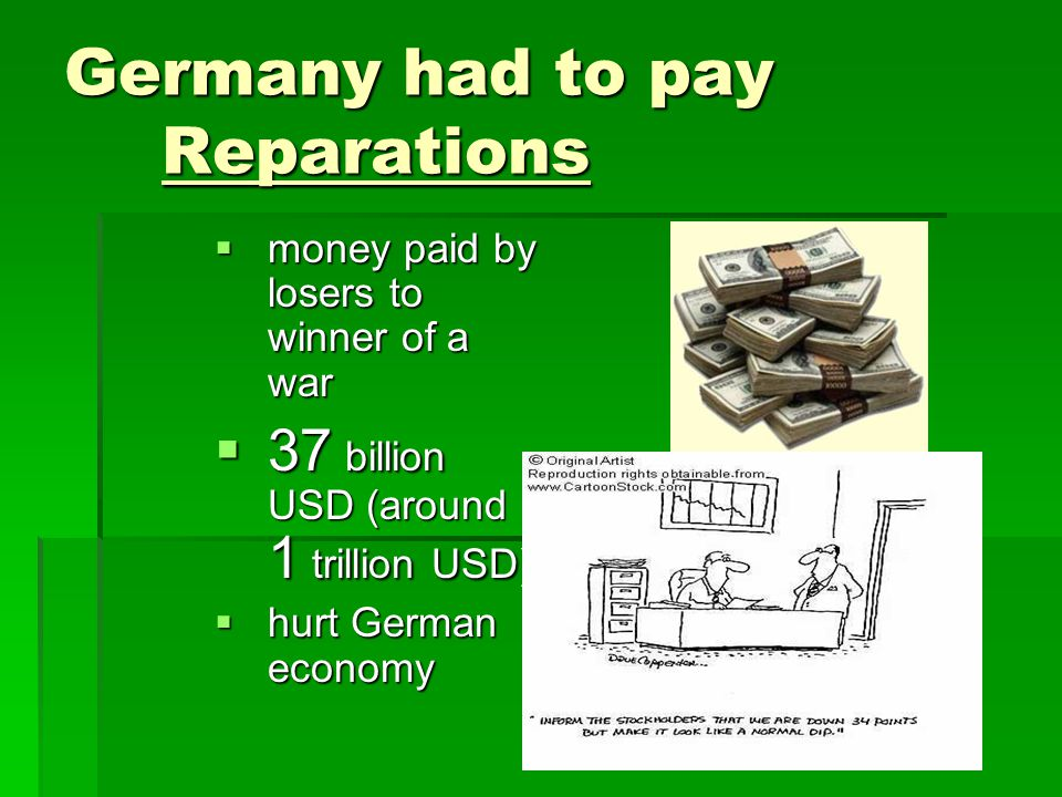 Germany had to pay Reparations