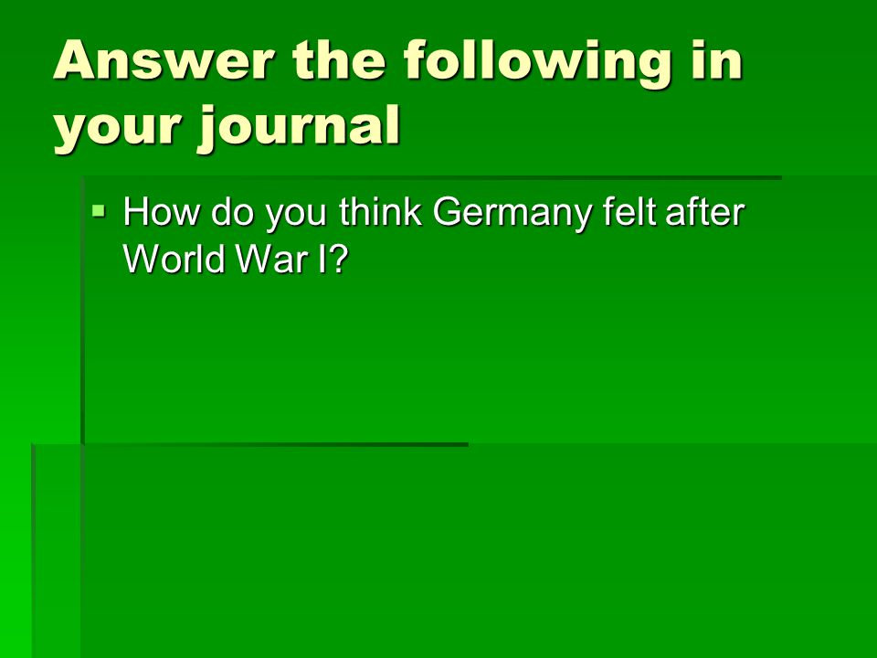 Answer the following in your journal