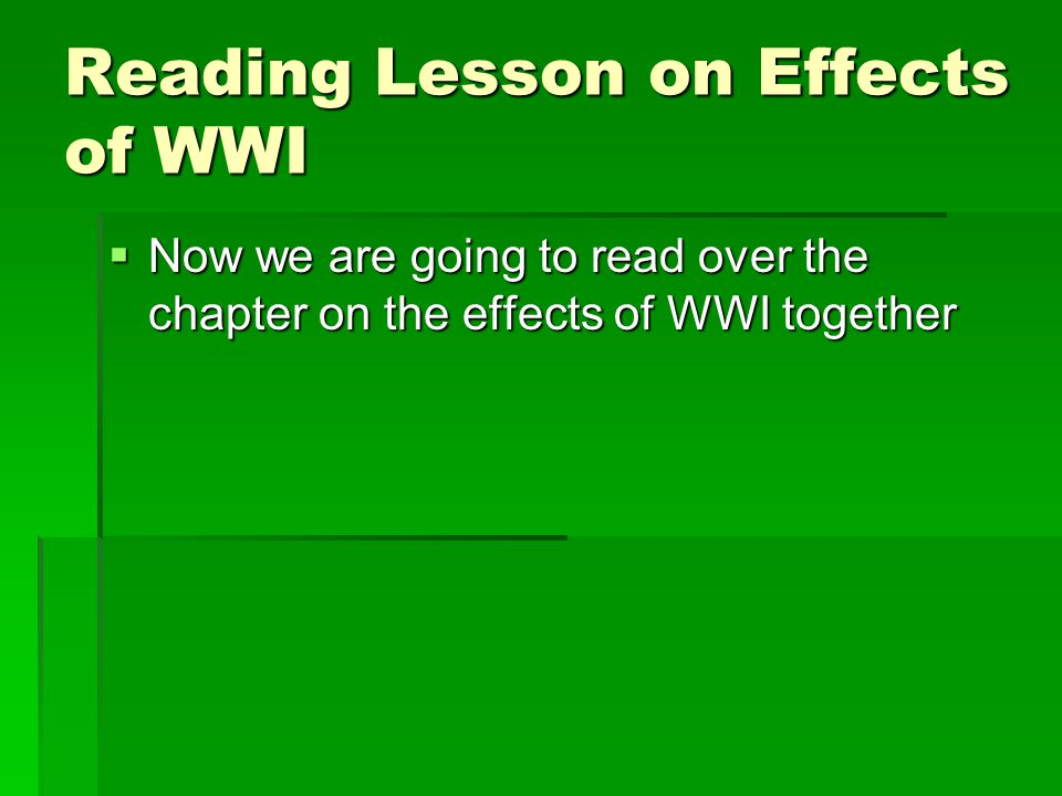 Reading Lesson on Effects of WWI