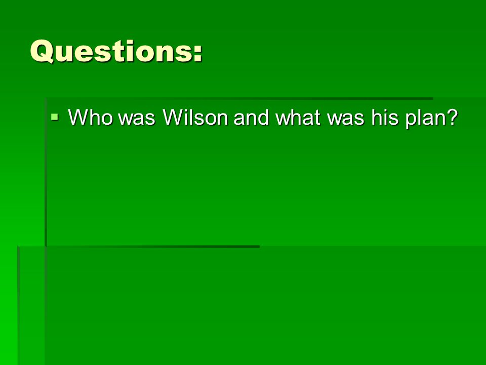 Questions: Who was Wilson and what was his plan